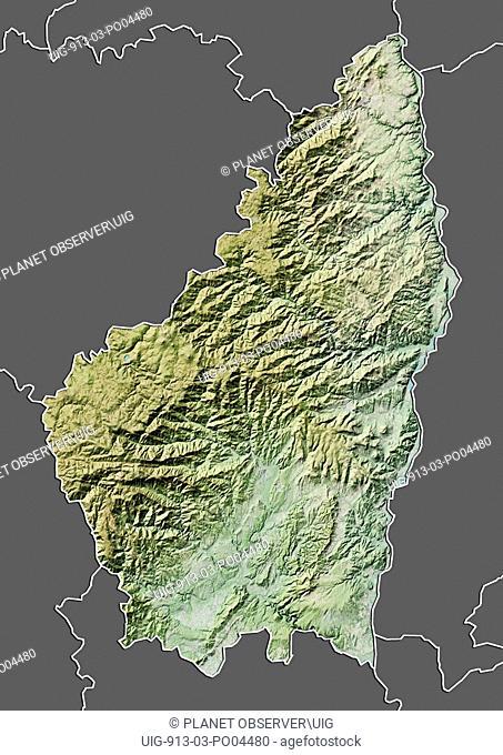 Departement of Ardeche, France, Relief Map