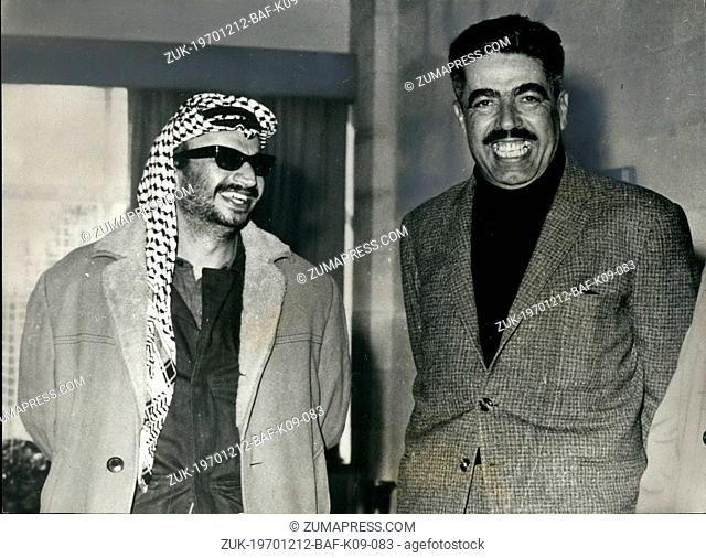 Dec. 12, 1970 - Jordan's Premier And Yaser Arafat: After the meeting in Amman, at which agreement was reached on ending the latest clashes between the Jordan...