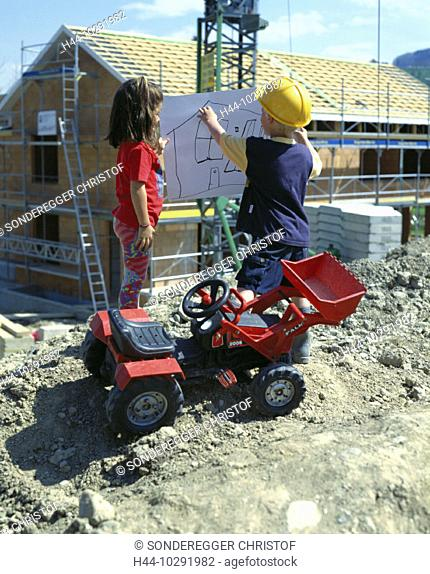 10291982, construction, building site, house construction, child drawing, plan, play, game, toys excavator, symbol, two, child