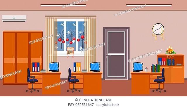 Christmas office room interior decoration. Holiday design of work spaces with winter landscape outside window. Preparing of the work place to xmas celebration