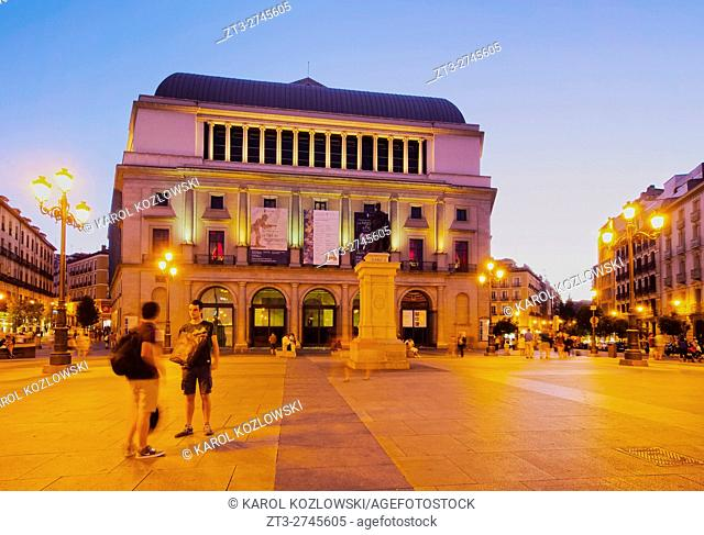 Spain, Madrid, Plaza Isabel II, View of the Teatro Real