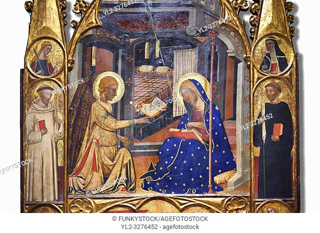 Gothic painted Panel Altarpiece of the Annunciation by the Circle of Ferrer and Arnau Bassa. Tempera and gold leaf on wood. Circa 1347-1360. 282