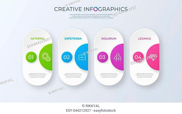 Contemporary minimalist vector infographic design with four options. Global swatches