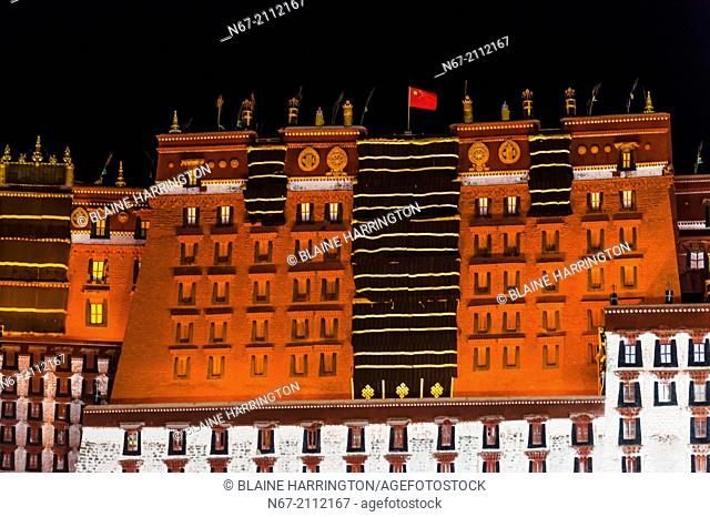 The Potala Palace (a UNESCO World Heritage Site) at night. The palace was the chief residence of the Dalai Lama until the 14th Dalai Lama fled to Dharamsala