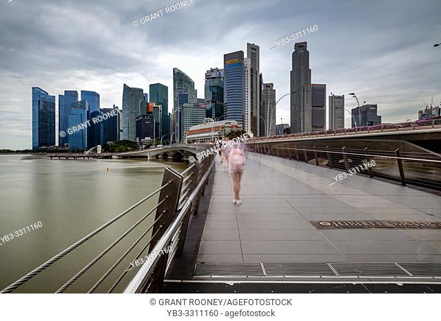 The Singapore Skyline From The Jubilee Bridge, Singapore, South East Asia