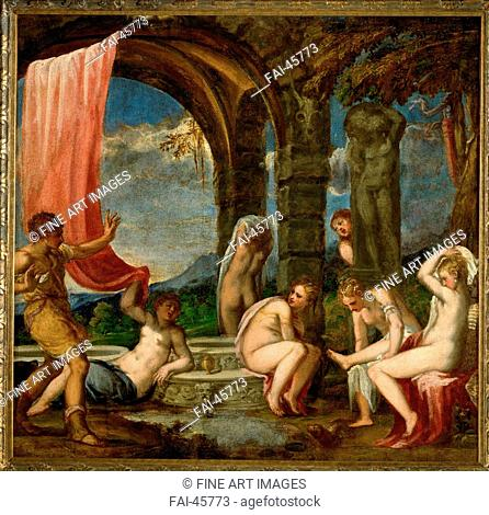 Diana and Actaeon by Schiavone, Andrea (ca. 1520-1582)/Oil on canvas/Mannerism/ca 1559/Italy, Venetian School/Art History Museum, Vienne/111x115/Mythology