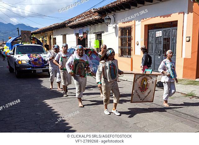 Procession during Guadalupe Virgin celebrations, San Cristobal de las Casas, Chiapas, Mexico