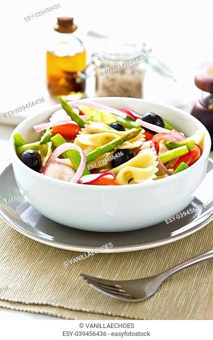 Farfalle with Asparagus , olive and radish salad