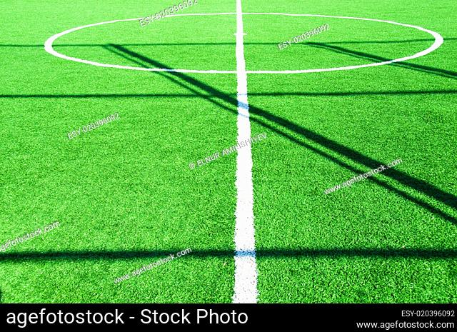 Football pitch on bright summer day