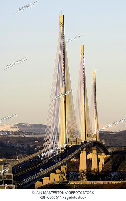 View of new Queensferry Crossing bridge spanning the River Forth at South Queensferry, Scotland, United Kingdom
