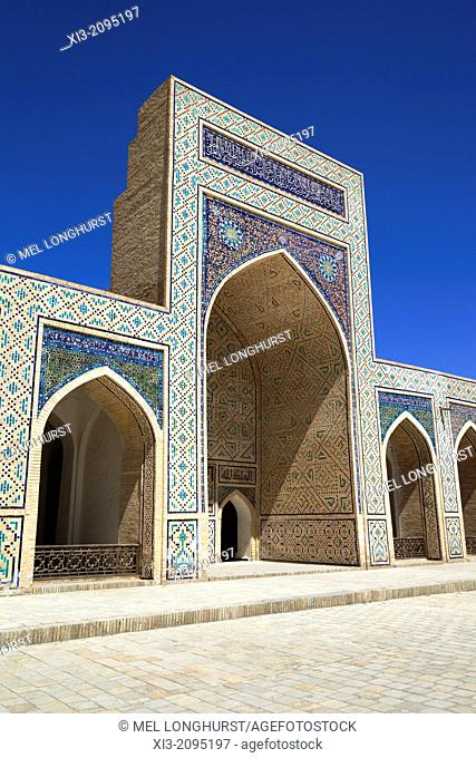 Islamic architecture in courtyard, Kalon Mosque, also known as Kalyan Mosque, Poi Kalon, Bukhara, Uzbekistan