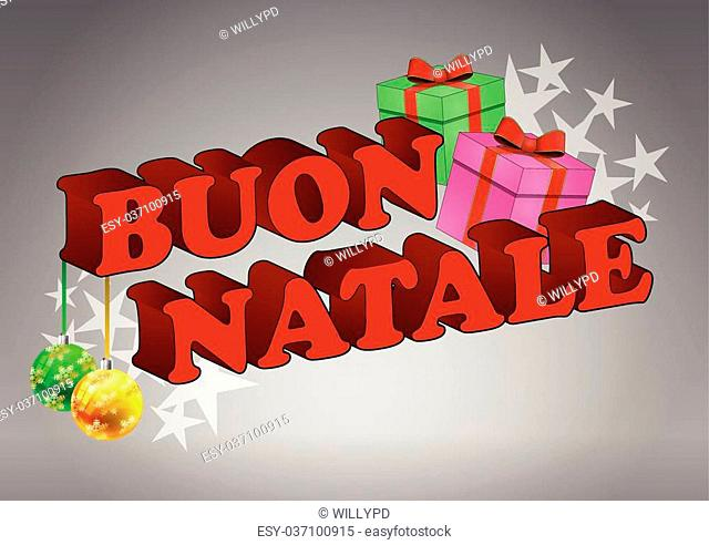 Merry christmas text in italian Stock