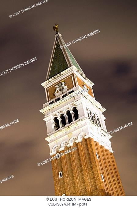 St. Mark's Basilica Bell Tower at night, Venice, Veneto, Italy