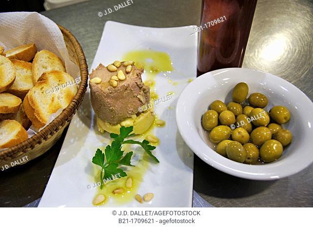 Spain. Food.  'Paté de perdiz' (Partridge paté)
