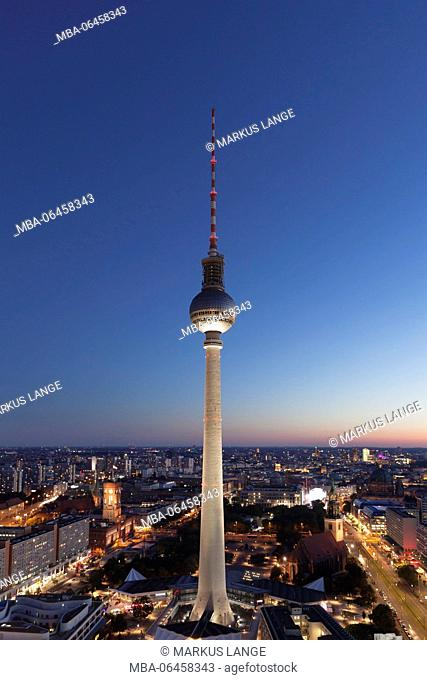 View from the hotel park Inn on the Alexanderplatz (square) with television tower, the Mitte district of Berlin, Berlin, Germany