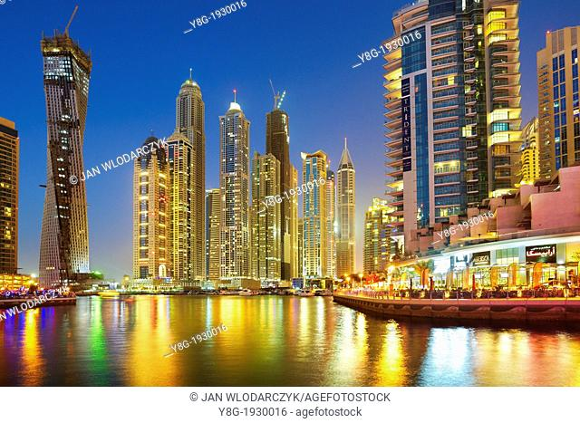 Modern skyscrapers on the canal of Dubai Marina, Dubai, United Arab Emirates