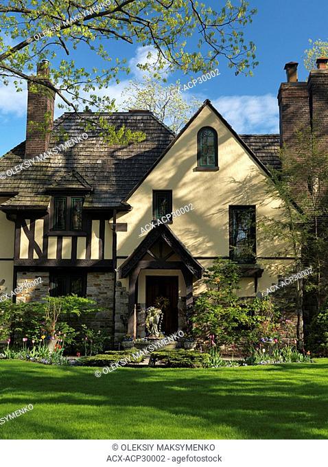 Beautiful family house springtime scenery. Baby Point neighbourhood Toronto Ontario Canada
