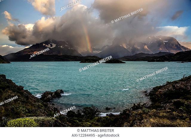 Cuernos del Paine above Lake Pehoe, Torres del Paine National Park; Magallanes region, Chile