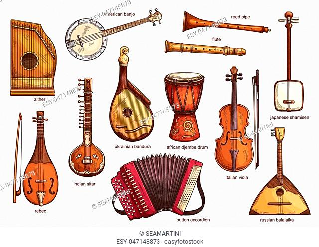 Musical instruments set zither and american banjo, reed pipe and flute. Classical music equipment collection rebac and indian siltar