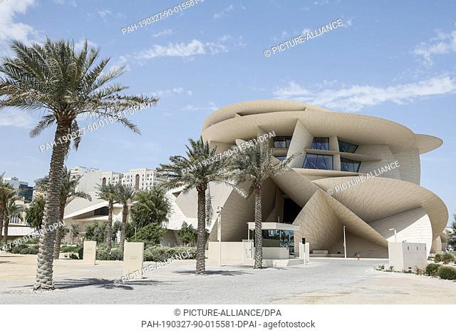 27 March 2019, Qatar, Doha: A general view shows the exterior of the National Museum of Qatar on it's opening day. The building by French architect Jean Nouvel...