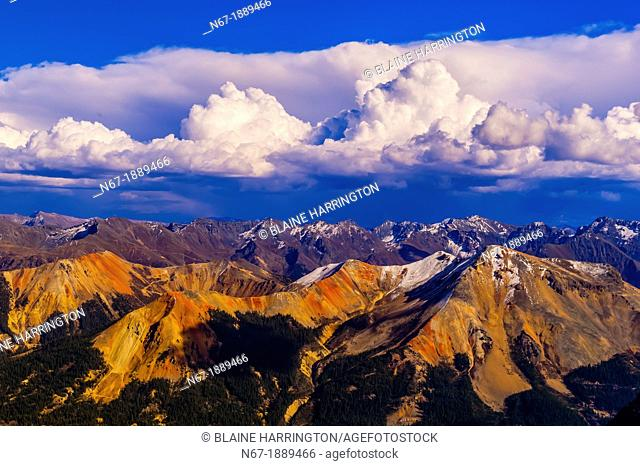 View from the top of 13,114 foot 3997m Imogene Pass, San Juan Mountains, southwest Colorado USA