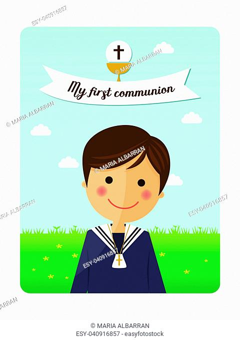First communion child foreground invitation with message on blue sky background