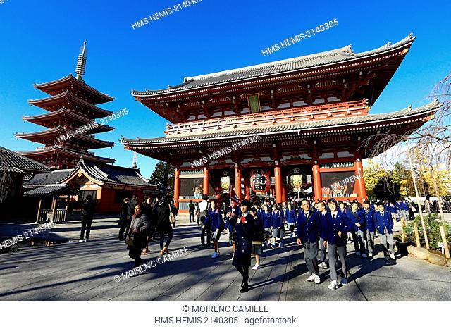 Japan, Honshu island, Tokyo, Taito, Asakusa district, Senso-ji Buddhist temple, Hozomon door Niomon, The Five Story Pagoda in the background