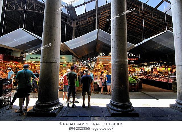 The Mercat de Sant Josep de la Boqueria, often simply referred to as La Boqueria. Large public market in the Ciutat Vella district of Barcelona, Catalonia