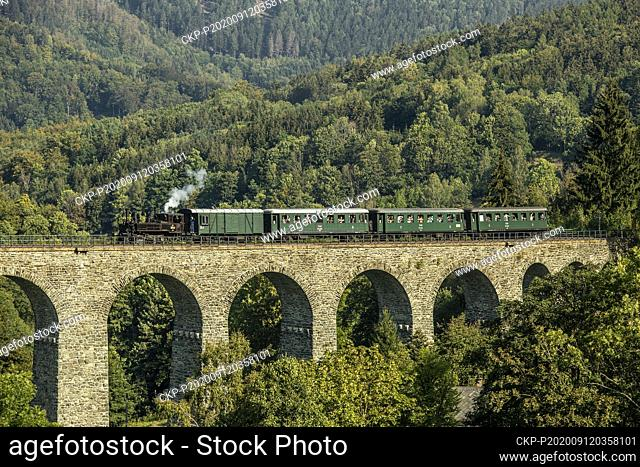 A steam locomotive runs over railway stone viaduct during the celebrations of 120 years of the Liberec - Ceska Lipa railway line, on September 12, 2020