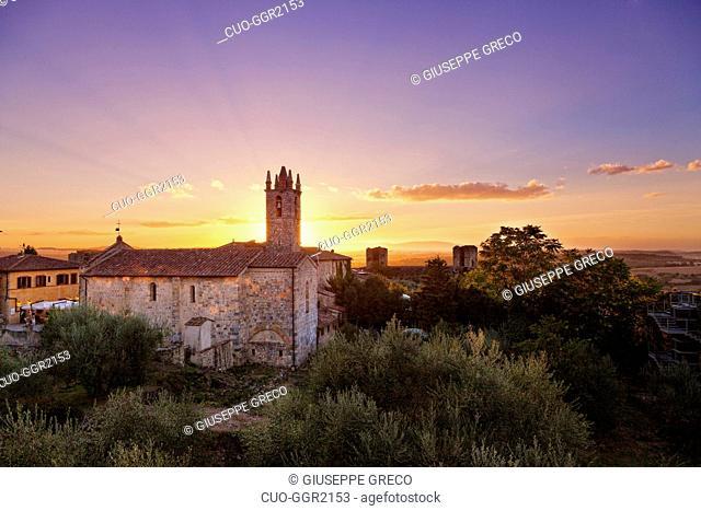 Santa Maria Assunta chuch at sunset, Monteriggioni, Tuscany, Italy, Europe