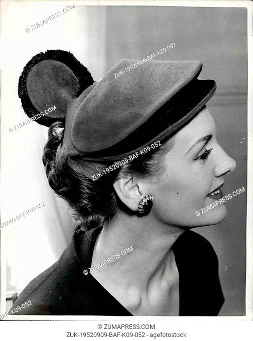 Sep. 09, 1952 - New Hats on Show in London 'Minoan': Photo shows A red Taupe Cloche - with Cocks' comb - and trimmed with a black fringe - with the name...