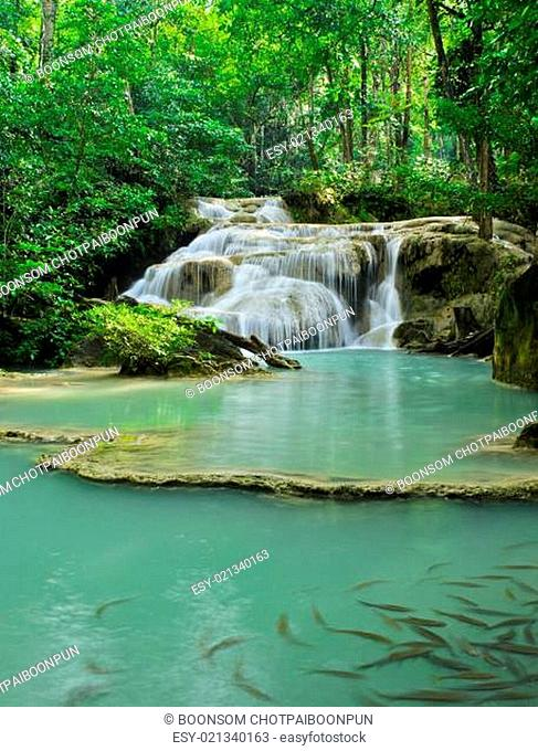 Cascading falls in tropical rain forest, Thailand