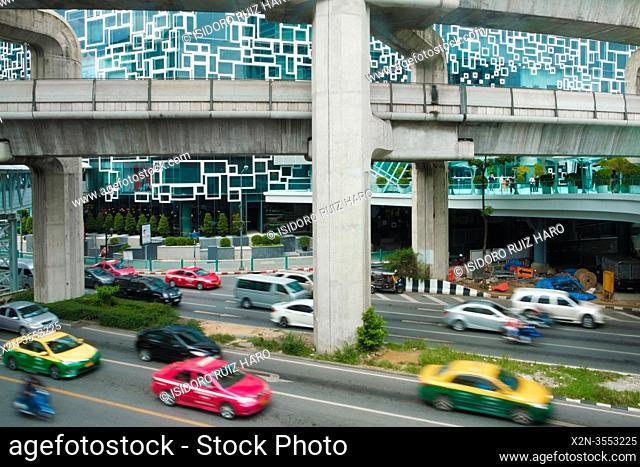 Multiple lane highway. Siam Square. Bangkok. Thailand