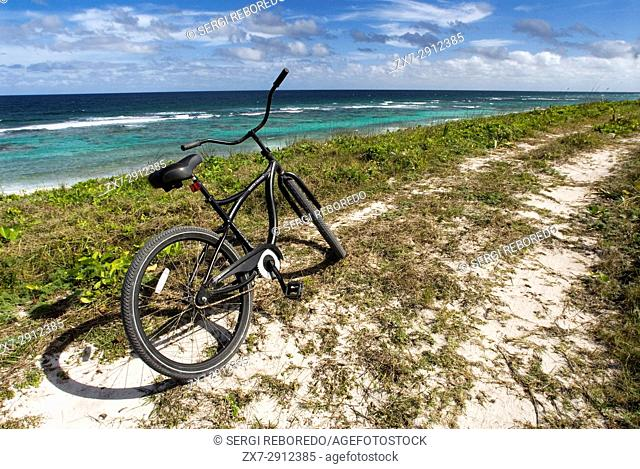 Cat Island, Bahamas. Beach of the East (Atlantic) area Pine Bay, Cat Island. The bicycle is the best way to see the island