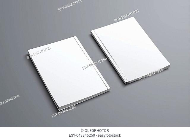realistic mockup of two brochures with front and back covers. Blank of the universal catalog A4 or A5 for presentation of design. Vector illustration