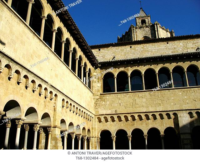 Cloister of the Monastery of Sant Cugat del Valles, Barcelona province, Catalonia, Spain