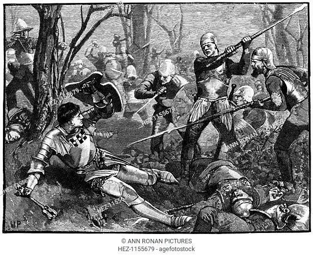 The death of Warwick the Kingmaker, 1471 (c1880). Richard Neville or Nevill, Earl of Warwick (1428-1471), English soldier and statesman was killed at the Battle...