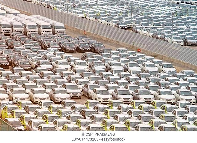 Samut Prakan,Thailand -24 August,2014:Row of new vehicles parked