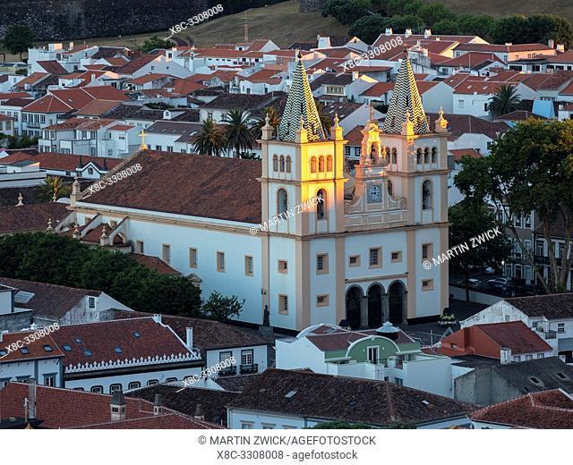 Igreja do Santissimo Salvador da Se. Capital Angra do Heroismo, the historic center is part of UNESCO world heritage. Island Ilhas Terceira