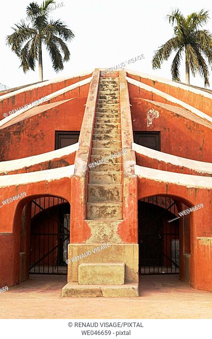 Astronomical structure with stairs in Jantar Mantar Observatory. New Delhi. India