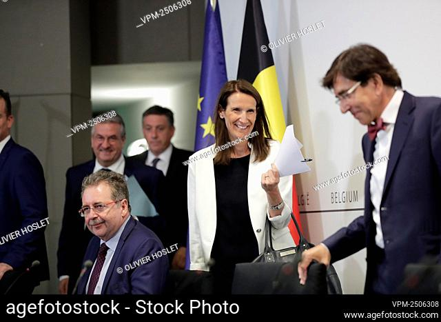 Belgian Prime Minister Sophie Wilmes arrives for a press conference following the meeting of the National Safety Council