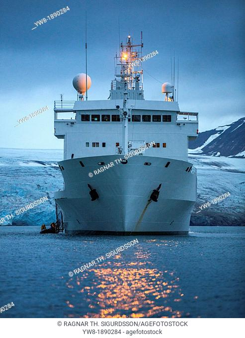 Russian Cruise ship, Spitsbergen, Svalbard, Norway The Akademik Sergey Vavilov-Russian research vessel built in 1988 currently used as a cruise ship...