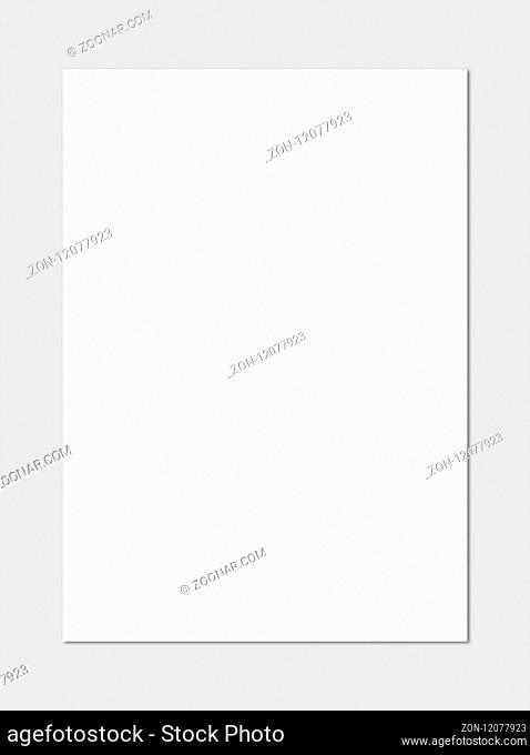 Blank White A4 paper sheet mockup template isolated on grey background