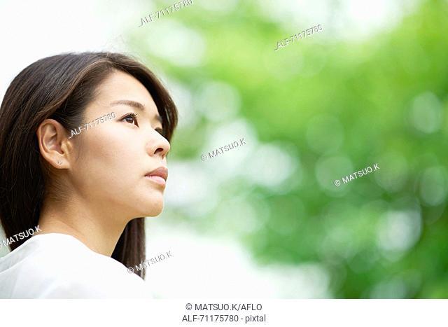 Japanese businesswoman downtown Tokyo