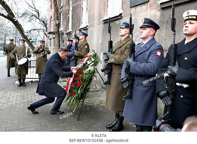 February 15, 2018 Warsaw, Poland. President Andrzej Duda deposited wreath at the Irena Sendlerowa`s commemorative plaque
