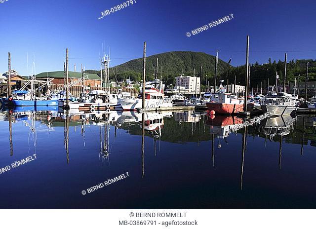 USA, Alaska, Alexander-archipelago, Revillagigedo Iceland, Ketchikan, harbor, landing place, fisher-boats, reflection, North America, southeast-Alaska