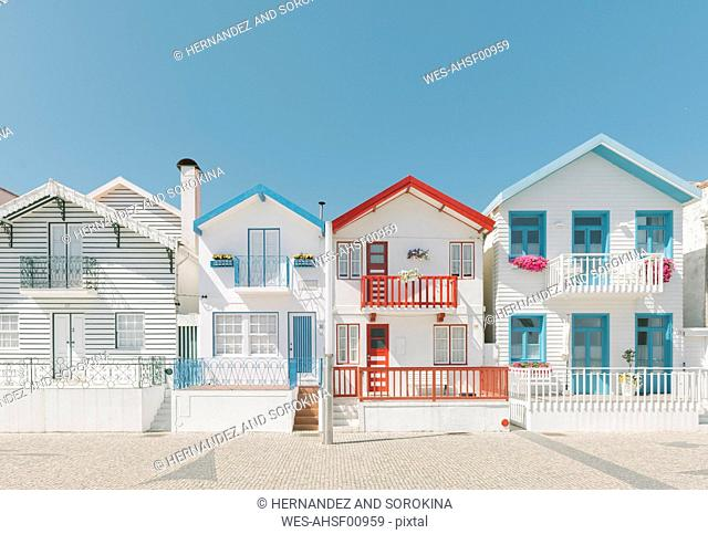 View of houses in a row, Costa Nova, Portugal