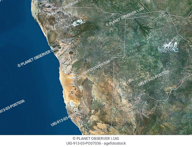 Satellite view of Namibia (with country boundaries). This image was compiled from data acquired by Landsat satellites
