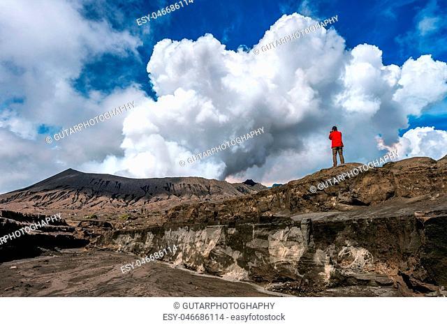 Photographer take photo at Mount Bromo volcano (Gunung Bromo)in Bromo Tengger Semeru National Park, East Java, Indonesia