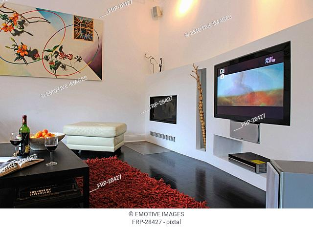 Modern living room with widescreen TV